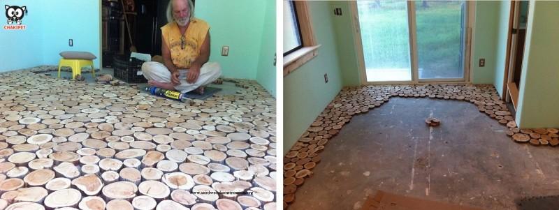 DECO : Un plancher réalisé avec de petits rondins de bois 8