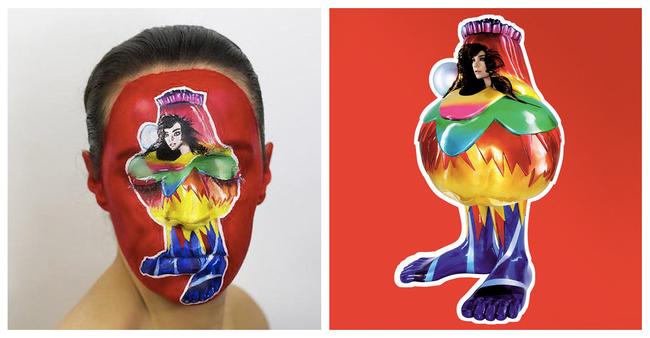 Elle peint des pochettes de disque sur son visage 2