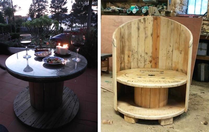 decoration des cr ations atypiques avec des tourets de c ble. Black Bedroom Furniture Sets. Home Design Ideas