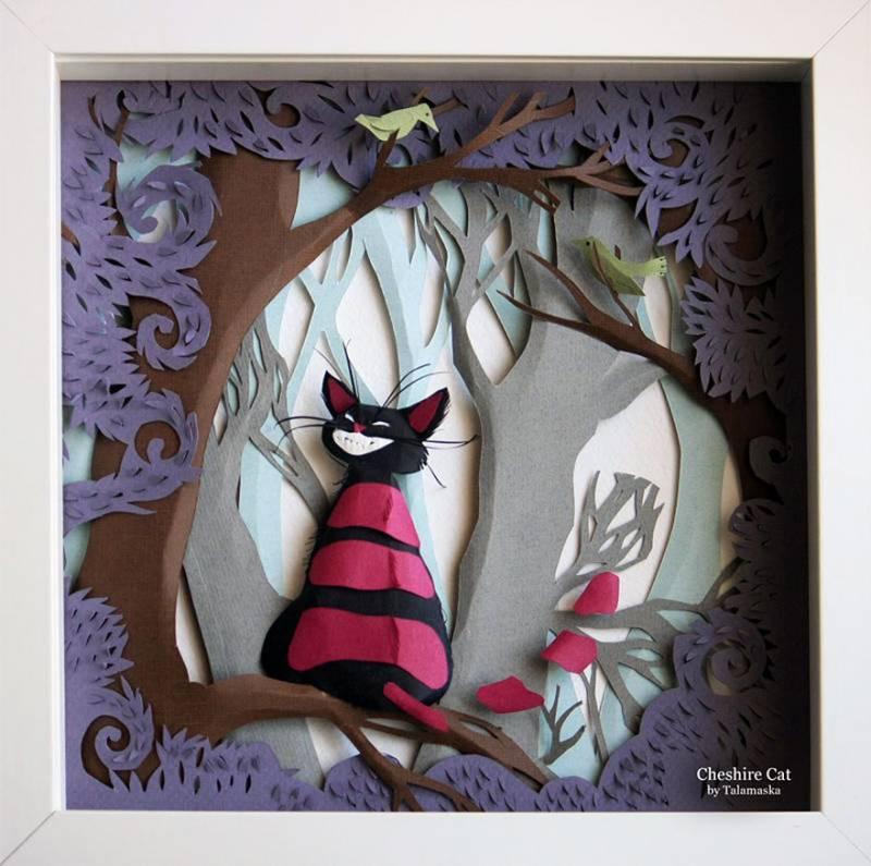 Les aventures d'Alice au pays des merveilles illustrées sur du papier sculpté 9