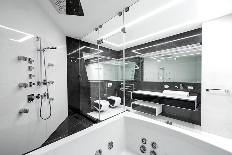 Design visitez cet appartement futuriste - Badkamer epuree ...