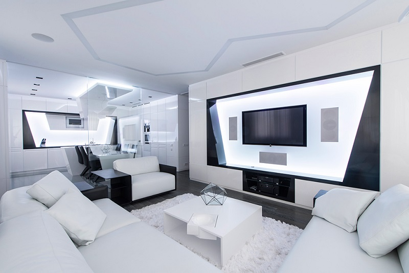 design visitez cet appartement futuriste. Black Bedroom Furniture Sets. Home Design Ideas