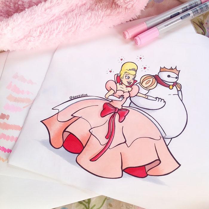 Cette jeune illustratrice de 18 ans transforme Baymax en d'autres célèbres personnages de Disney 10