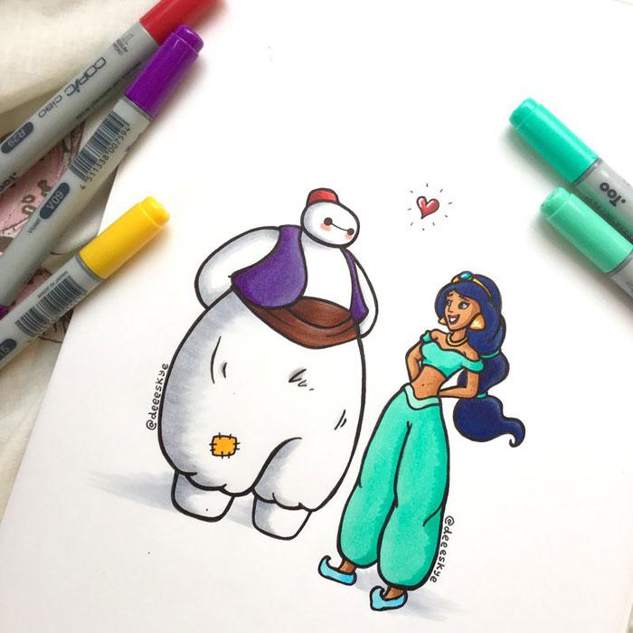 Cette jeune illustratrice de 18 ans transforme Baymax en d'autres célèbres personnages de Disney 11