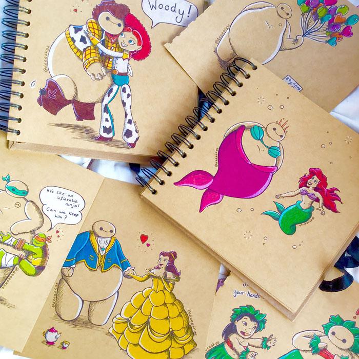 Cette jeune illustratrice de 18 ans transforme Baymax en d'autres célèbres personnages de Disney 15