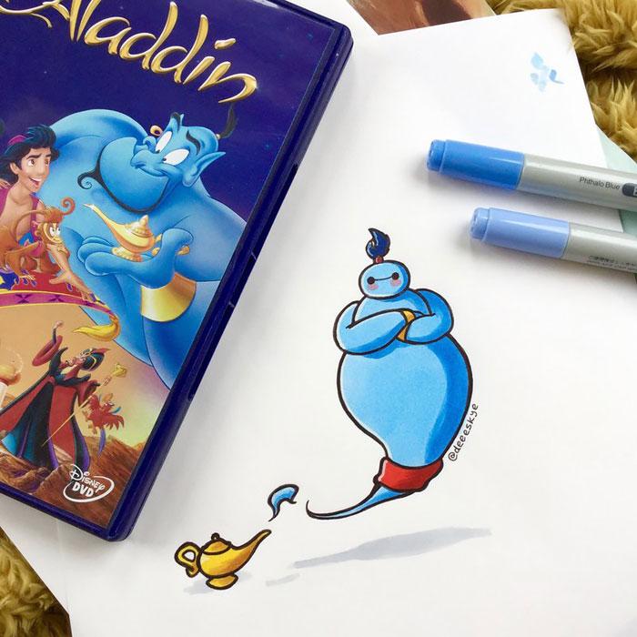 Cette jeune illustratrice de 18 ans transforme Baymax en d'autres célèbres personnages de Disney 6