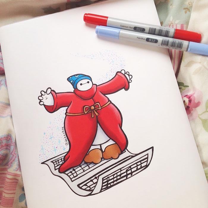 Cette jeune illustratrice de 18 ans transforme Baymax en d'autres célèbres personnages de Disney 7
