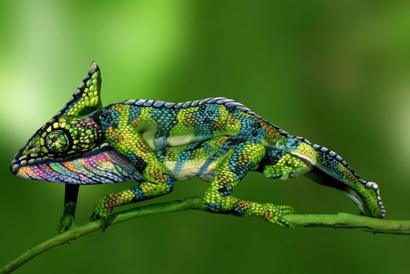 Peinture sur corps : Un caméléon ? Non... Ce sont deux femmes. 3