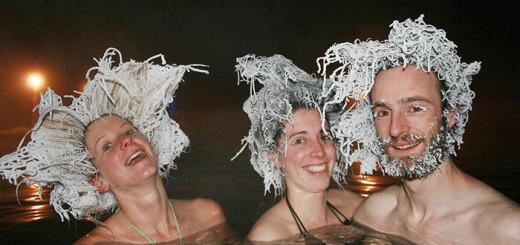 Incroyable concours de cheveux gelés dans des sources d'eau chaude au Canada 4