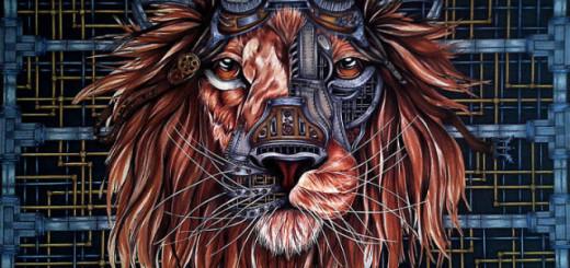 Le dessin d'un lion à partir d'une page vierge. 12