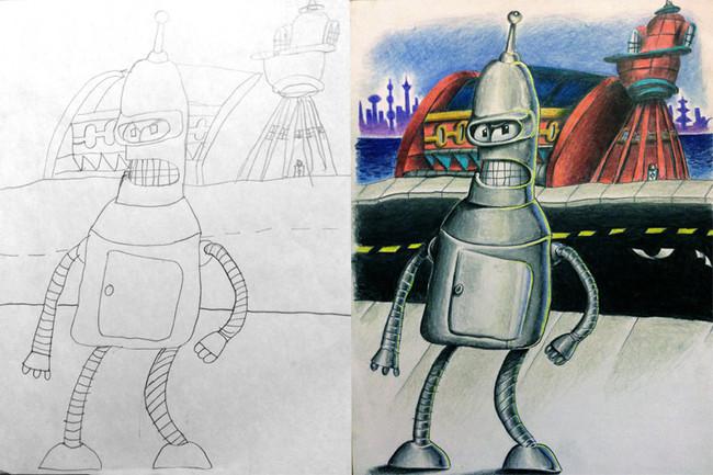 Ce papa fait du dessin avec beaucoup de talent ! 6