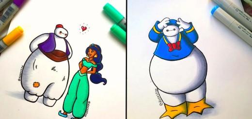 Cette jeune illustratrice de 18 ans transforme Baymax en d'autres célèbres personnages de Disney 23