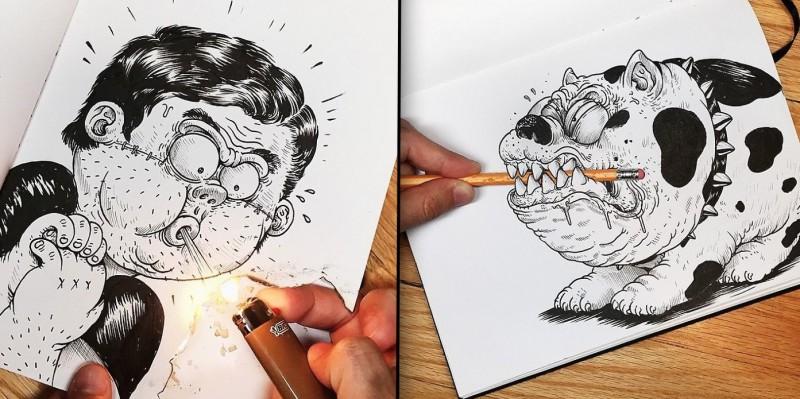 Ces drôles d'illustrations se battent avec leur propre créateur ! 16
