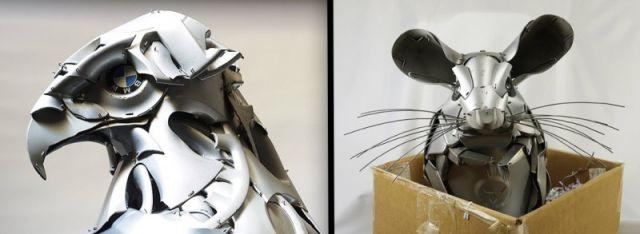 Des enjoliveurs de roues recyclés en magnifiques sculptures 19