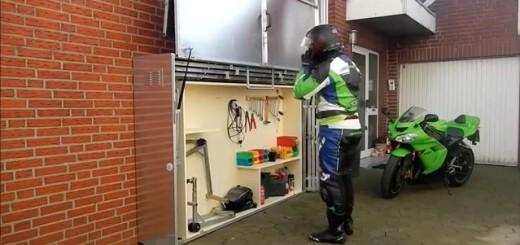 Le garage moto télescopique