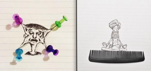 Cet artiste de 17 ans crée des illustrations en interactivité avec des objets du quotidien 16