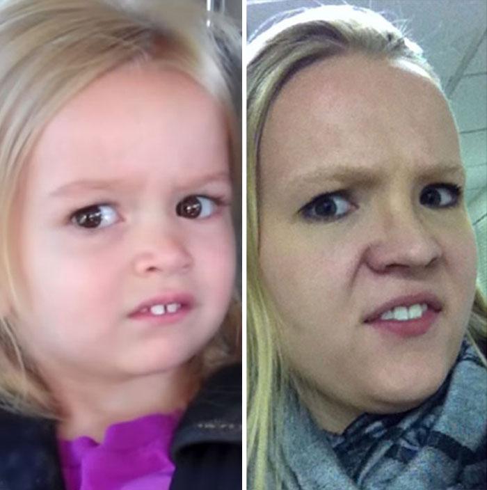 Cette fille imite les expressions faciales de personnages célèbres 12