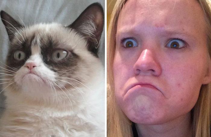 Cette fille imite les expressions faciales de personnages célèbres 9