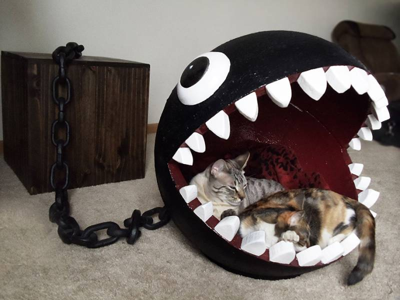 Avis aux geeks un lit de chat en forme de chomp - Lit pour chat design ...