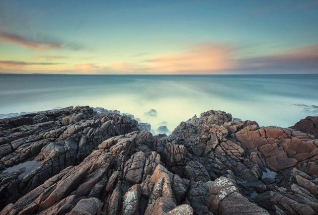 landscape with rocks on ocean