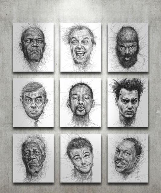 Ces portraits sont réalisés grâce à des milliers de lignes de crayon 7