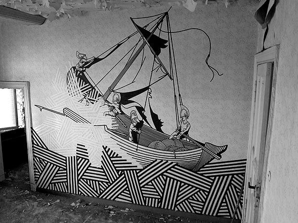 De superbes fresques murales réalisées avec du simple ruban adhésif 3